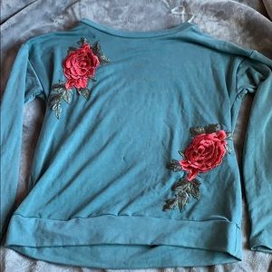 sweatshirt with rose patches!